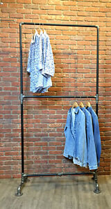 Industrial Pipe Heavy Duty Double Row Clothing Rack By William Robert s Vintage