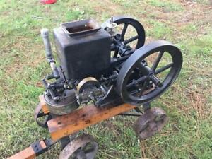 Old Stover K 1 1 2 Hp Hit Miss Gas Flywheel Webster Mag Splash Guard Runs