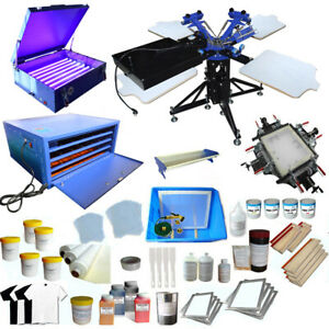 3 Color Silk Screen Printing Kit Screen Printer T shirt Printing Press Bundle