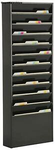 Displays2go File Folder Wall Rack W 11 Tiered Pockets Office Filing Rack Top