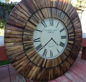 Vintage 80s Large Wooden Sunburst Starburst Wood Wall Clock Round Not Working