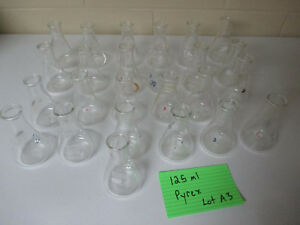 Pyrex 125 Ml 4980 Usa Erlenmeyer Flasks 125ml Lab Glass Lot Of 22
