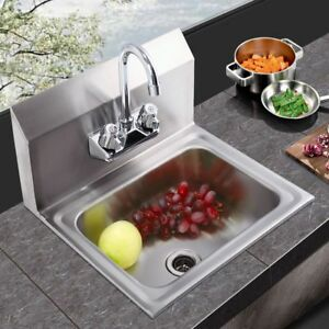 Wall Mount Stainless Steel Hand Sink With Faucet And Strainer 17 X 15