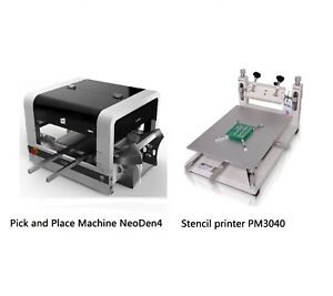 Auto Smt Pick And Place Machine Vision System Neoden4 With A Stencil Printer Bga