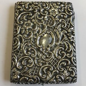 Antique Victorian Fine Quality Solid Silver Card Case 1895 Henry Matthews 10 5cm