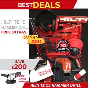 Hilti Te 15 Rotary Hammer Preowned Free Angle Grinder Extras Quick Ship