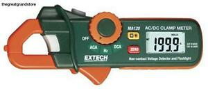 Extech 200 Ampere Ac dc Mini Clamp On Current Detector Voltage Flashlight Hz Jaw