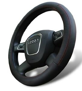 Genuine Leather Steering Wheel Cover For Ford Universal Fit Black