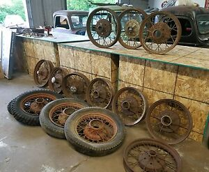 Vintage 1920 S 1930 S Wire Spoke Wheels Huge Lot Of 14 Ford Chevy Dodge Plymouth