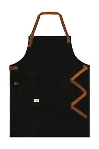 Uskees Chorlton Denim Bib Apron Black Chef Barista Adjustable Leather Straps