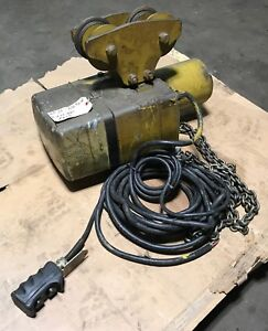 Yale Eaton 1 2 Ton Electric Chain Hoist With Pendent Trolley 230 460v 3 Ph