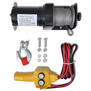2000 Lb Atv Cable Winch Electric 12 V Volt Recovery Boat Trailer Truck Plow