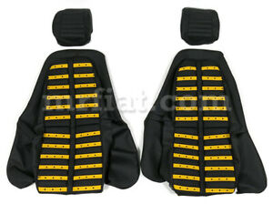 Ferrari Dino 206 246 Gt Gts Black Yellow Inserts Leather Seat Cover Set New