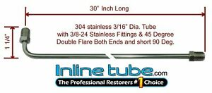 3 16 Brake Line 30 Inch Stainless Steel 90 Degree Bend Flared 3 8 24 Tube Nuts