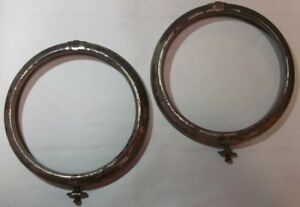1910 1920 Cadillac Chrome Plated Headlight Bezels Lot Of 2 Original 11 Inch Wide
