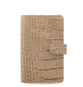 Filofax Classic Croc Compact Personal Size Organizer Taupe fawn Leather 026011
