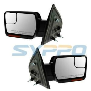 For 07 14 Ford F150 Pickup Power heated Signal Puddlelight Mirror Top chrome Cap