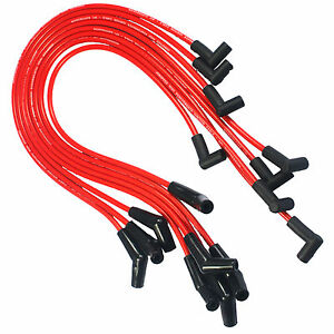 45 Degree End Spiral Core Spark Plug Wires Hei Red For 396 427 454 502 Chevy Bbc