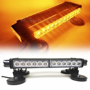 17 Led Traffic Advisor Emergency Beacon Warn Flash Roof Strobe Light Bar Amber