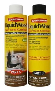 Liquidwood Kit Epoxy Rotted Wood Consolidant 6 Oz Each Part A B Sealant Solids