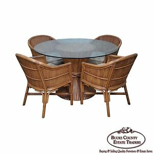 Quality Rattan Sheaf Of Wheat Round Glass Top Table 4 Barrel Chairs Set
