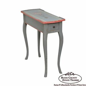 French Louis Xv Style Hand Painted Narrow 1 Drawer Side Table W Hot Air Balloon