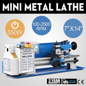 Precision Mini Metal Lathe Metalworking Diy Processing Variable Speed 7 x14