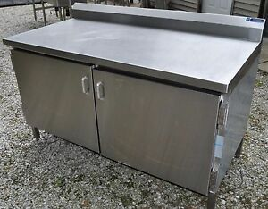 5 Ft Heavy Duty Stainless Steel Prep Table 1 Shelf Work Cabinet Doors 60 X 30