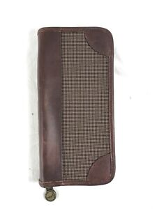 Vintage Leather Hazel Business Card Holder Case Organizer With Zippered Closure