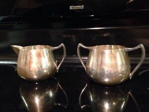 Silver On Copper Creamer Sugar F B Rogers Taunton Mass Estate Find Vintage