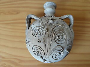 Ancient Roman Ceramic Pottery Round Belly Pilgrim Flask Snake Decoration