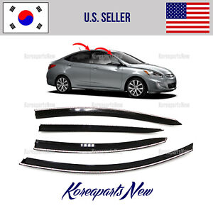 Super Smoked Door Window Visor Deflector Fits For Hyundai Accent Sedan 2012 2017