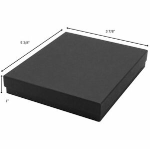 The Display Guys Pack Of 100 Cotton Filled Cardboard Paper Black Jewelry Box