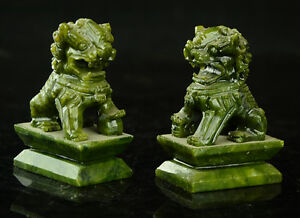 Rare A Pair Of 100 China Natural Green Jade Hand Carved Statues Fo Dog Lion