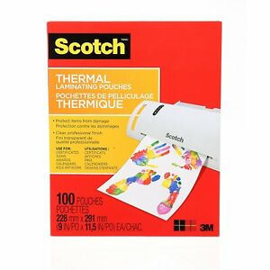 Scotch Thermal Laminating Pouches 8 9 X 11 4 inches 3 Mil Thick 100 pack tp3