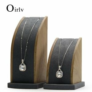 Oirlv Solid Wood Jewelry Display Stand Rings Earrings Holder Showcase Velvet