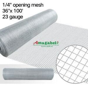 36inch Hardware Cloth 100 Ft 1 4 Mesh Galvanized Welded Wire 23 Gauge Metal Roll