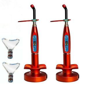 2pcs Dental 5w Wireless Led Curing Light Red Whitening Tip 1500mw Us Stock