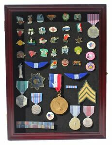 Collector Pin And Medal Display Case Holder Cabinet Shadow Box Pc01 cherry