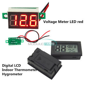 3 digital Led Voltmeter Meter Lcd Temperature Humidity Thermometer Hygrometer