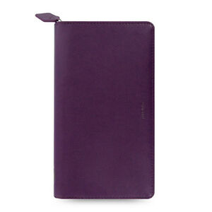 Filofax Compact Zip Pennybridge Organiser Diary Book Purple Leather look Student