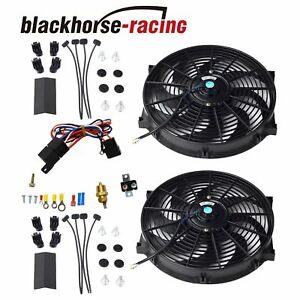 2x 14 Electric Cooling Radiator Fan 3 8 Probe Ground thermostat Switch Kit Bk