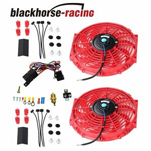 New Red 2x 12 electric Cooling Fan Push in Radiator Fin Probe Thermostat Kit