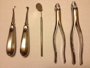 5 X Dental Elevator Kit Surgical Root Elevators Tooth Extraction Tools Us Stock