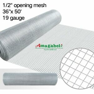 36inx50ft 1 2 In 19gauge Hardware Cloth Galvanized Welded Cage Wire Mesh Rolls