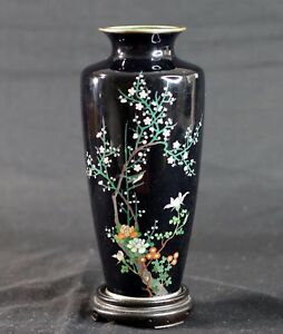 Antique Meiji Japanese Cloisonne Enamel Silver Wire Bird And Floral Vase