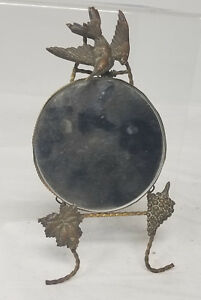 Antique Vintage Aesthetic Bronze Mirror Picture Frame Stand Swallow Bird