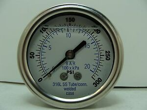 302lfw 254h 2 5 Glycerin Filled Ss 316 Internal Gauge 1 4 Npt Cbm 0 300 Psi