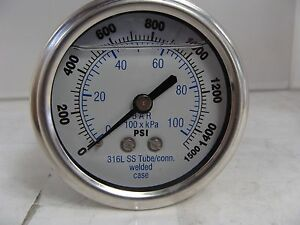 302lfw 254n 2 5 Glycerin Filled Ss 316 Internal Gauge 1 4 Npt Cbm 0 1500 Psi