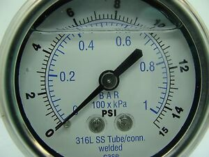 302lfw 254b 2 5 Glycerin Filled Ss 316 Internal Gauge 1 4 Npt Cbm 0 15 Psi
